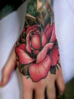 Flower on hand tattoos