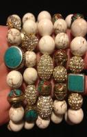 5 Bracelet stack with Large White Turquoise and by AddieandIsaac,