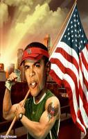 American Barack Obama With Flag