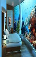 Cocoa Island , Maldives... maybe the tallest fish tank ever seen in an