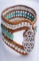 Single Leather Wrap Cuff Turquoise Magnesite Silver Silver Plate
