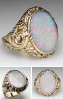 Vintage scroll opal ring