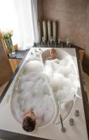 His and Her Bath... I love this idea! He likes his bath scalding! I ho
