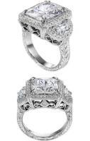 Square Diamond Engagement ring half moon diamonds side stones