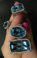 Aquamarine and diamond rings by Coast Diamond. Via Diamonds in the Lib