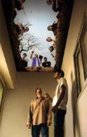 The ceiling mural in a designated smoking area. awesome!