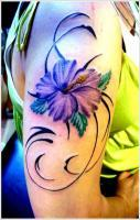 Purple Orchid Tattoo Design For Girl On Sleeve