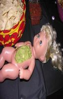 DIY baby doll upcycled into a dip bowl. genius. I must say it tasted s