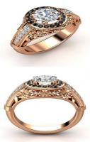 14K Rose Gold Black & White Diamond Ring ♥