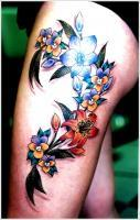 Orchid Tattoo Design For Girl On Thigh