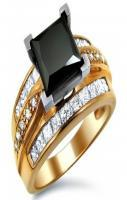 3.30ct Black Princess Cut V-Tip Diamond Ring 14k Rose Gold