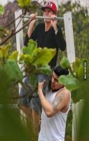 Justin Bieber trying to do a pull-up today