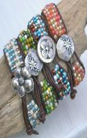 Leather wrap bracelet - Surf N Sand - beaded cuff, silver flower, aqua