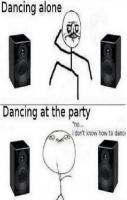 Dancing alone and dancing in party