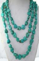 Fashion 3strand turquoise nugget stone beads necklace knotted