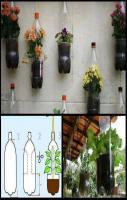 Reuse plastic bottles and turn them into awesome flower pots