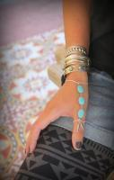 Gorgeous silver chain and Turquoise Thumb finger slave bracelet Adjust