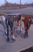 STRANGE CUSTOM BAR STOOLS   HORSES REAR ENDS WITH TAIL - FITS YOU PERF