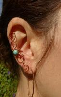 Ear Cuff , Copper & Turquoise
