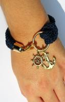 Nautical bracelet, crochet, rudder and anchor