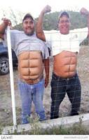 Oh my goodness, I laughed so hard! Such definition on those six-pack a