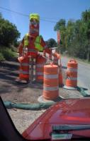 This is why road construction takes soooooo long. One guy does all of