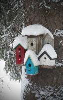 Winter Birdhouses Print by Octane Creative