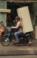Frigde is Caring on Bike in Indonasia
