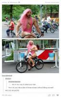 Man Runny Arroung in Female Dress on Bike... LOL