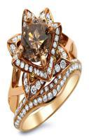 2.0ct Brown Round Diamond Lotus Flower Engagement Ring Set 14k Rose Go