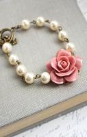 Dusty Pink Rose Bracelet Pearl Bracelet Floral Bridal Bracelet