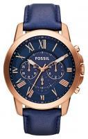 Fossil 'Grant' Round Chronograph Leather Strap Watch