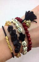 Crimson and Black Boho Bracelet Stack Set