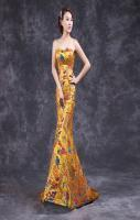 Yellow Cheongsam Qipao Long Chinese Traditional Wedding Dress