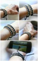 Black Cotton Macrame Bracelet, Silver Beaded Bracelet. Friendship Brac