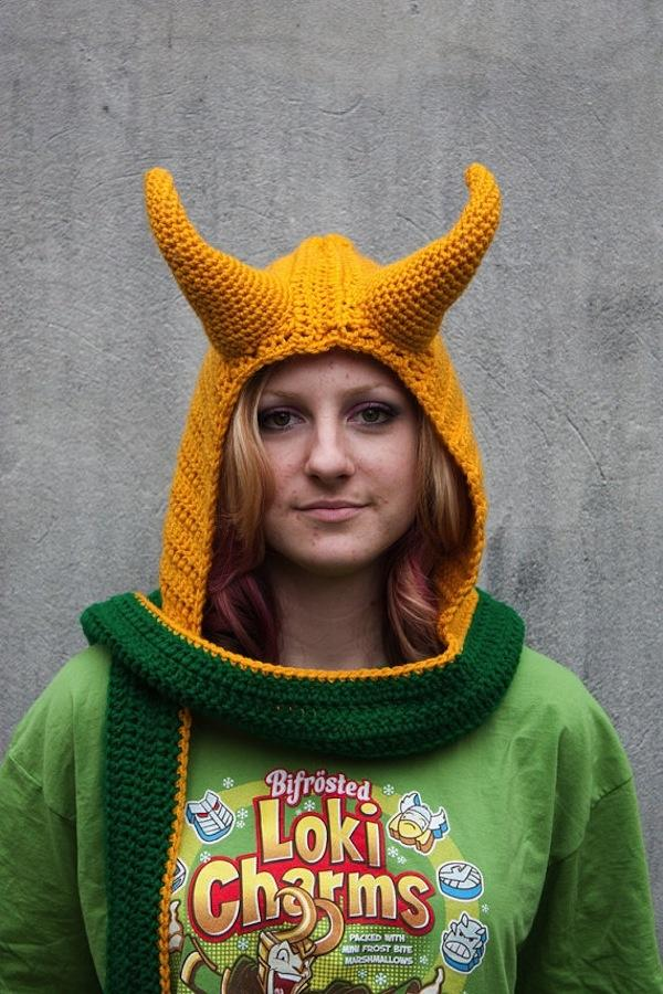 Crocheted Hooded scarves. I love the Loki and Thor ones, but the Black