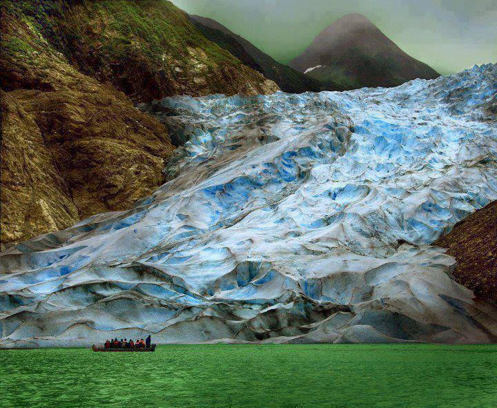 The Sawyer Glacier in Alaska where glacier meets