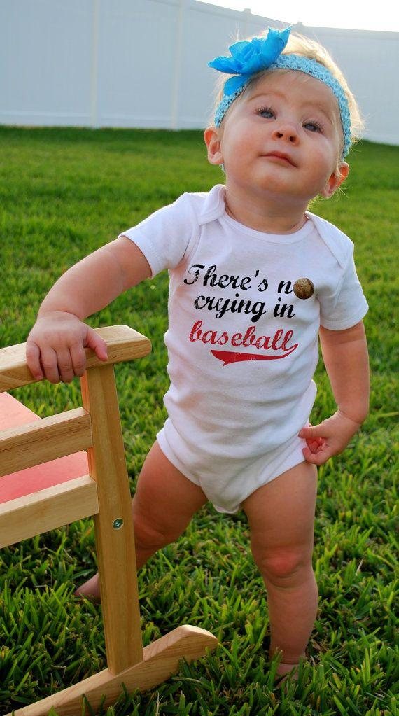 There's NO CRYING in BASEBALL Baby Bodysuits, Tees, Sports, Homerun,