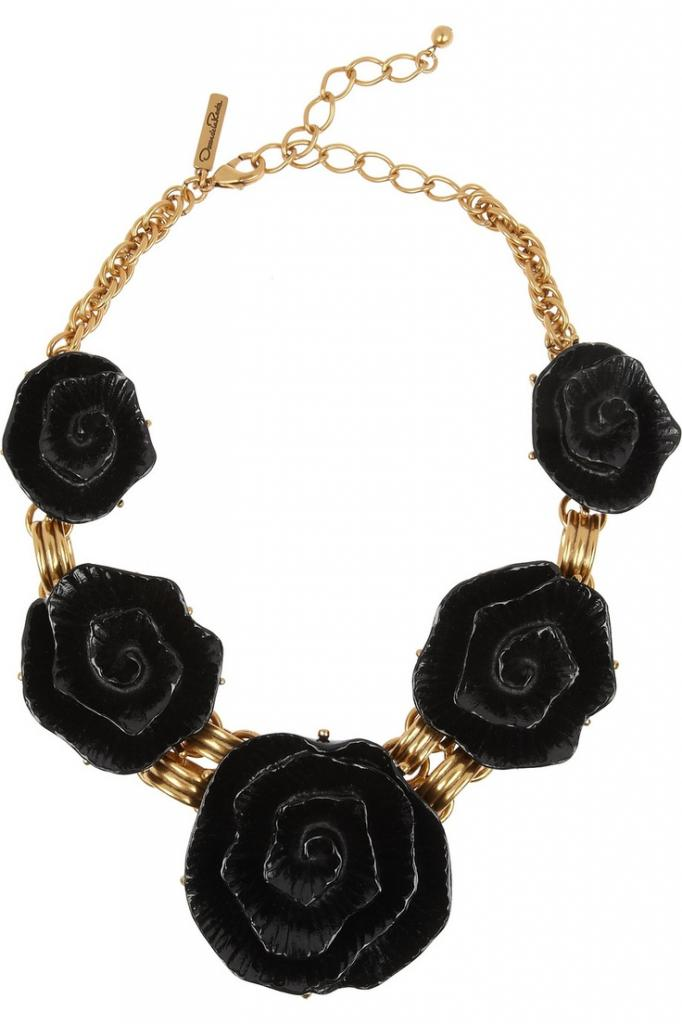 Gold-plated resin rose necklace