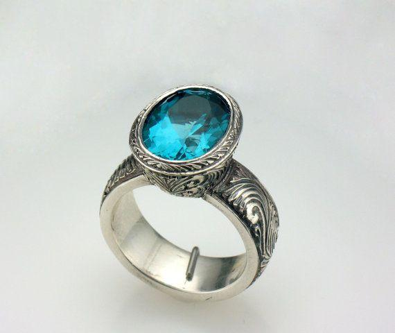 Oval Bluish Green Apatite Hand Engraved Ring Sterling Silver
