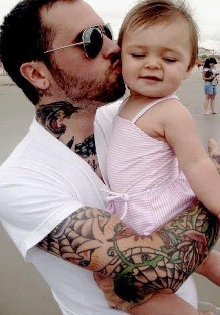 Tattoo dad and daughter