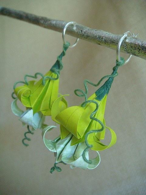 Lovely paper flower earrings