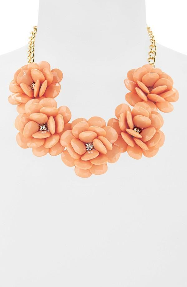Yes to this coral floral statement necklace!