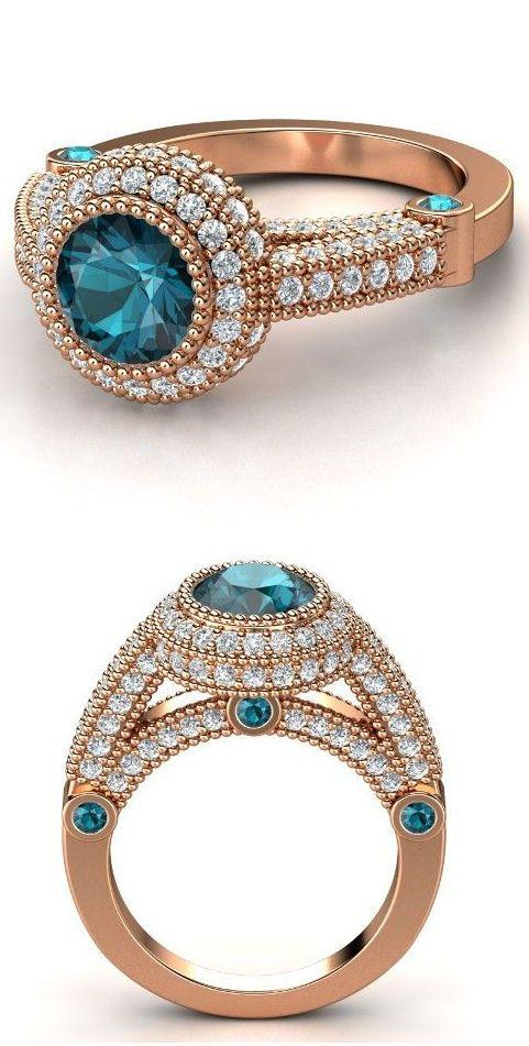 14K Rose Gold Blue Topez & Diamond Ring ♡