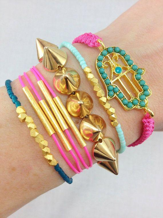 Neon Lights Bracelet Stack featuring pops of Pink and Teal