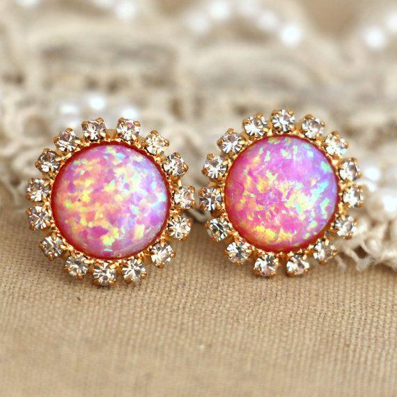 Pink Opal stud earrings with white rhinestones, bridesmaids jewelry,we