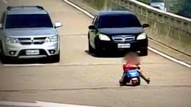 Hair-raising moment 8-year-old decides to takes a ride on his toy truc