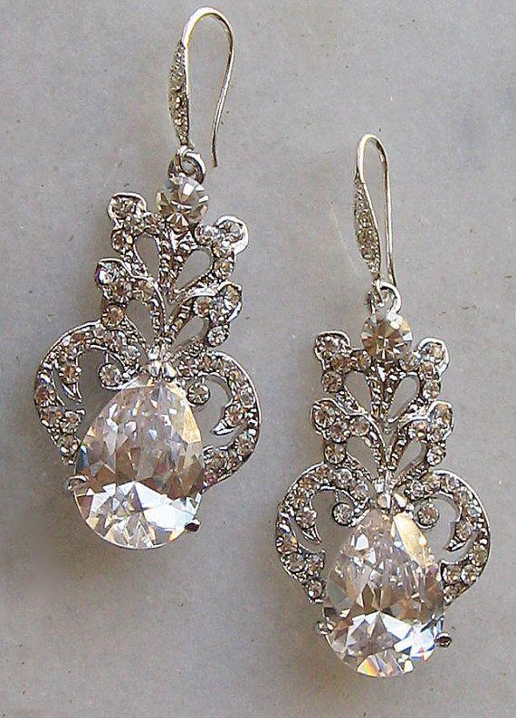 Stunning Rhinestone Chandelier Earrings, Swarovski Crystal Bridal Earr