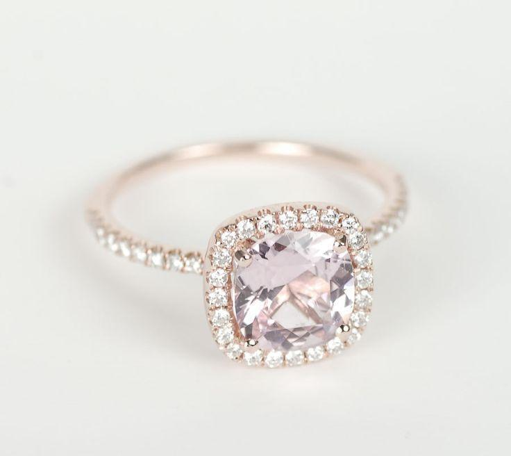 Certified Peach Pink Cushion Sapphire Diamond Halo Engagement Ring