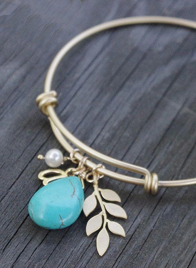 Gold and Turquoise Bangle Bracelet - Blue Turquoise…